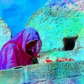 Travel Exotic Woman On Ramparts Mehrangarh Fort India Rajasthan 1e by Sue Jacobi