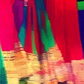 Travel Shopping Colorful Scarves Abstract Series Square India Rajasthan 1h by Sue Jacobi
