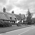 Travellers Delight - English Country Road Black And White by Gill Billington