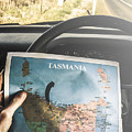 Travelling Tourist With Map Of Tasmania by Jorgo Photography - Wall Art Gallery