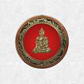 Treasure Trove - Gold Buddha On White Leather by Serge Averbukh