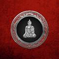 Treasure Trove - Silver Buddha On Red Velvet by Serge Averbukh
