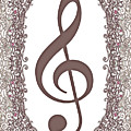 Treble Clef With Brown Border by Lise Winne