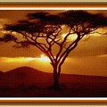Tree At Sunset. L B With Decorative Ornate Printed Frame. by Gert J Rheeders