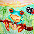 Tree Frog And Butterfly by Nick Gustafson