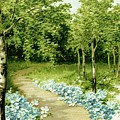Trees And Flowers Country Scene by MotionAge Designs