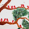 Trees And Red Birds 1 by Sumit Mehndiratta