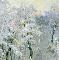 Trees In Wintry Silver by Konstantin Ivanovich Gorbatov