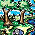 Trees W Water Ddl by Blind Ape Art