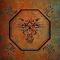 Tribal Dragon Head In Octagon With Dragon Chinese Characters by Fred Bertheas