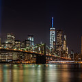 Tribute In Lights Over The Brooklyn Bridge by Alissa Beth Photography