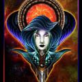 Trilia Red Nebula Fractal Art Portrait by Xzendor7