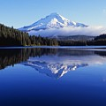 Trillium Lake With Reflection Of Mount by Dan Sherwood