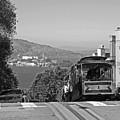 Trolley Descending Into San Francisco Black And White by Toby McGuire
