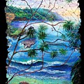 Tropical Cove  Fresco Triptych 2 by OLena Art Brand