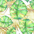 Tropical Haze Blanche Variegated Monstera Leaves, Golden Palm Fronds On Black by Tina Lavoie
