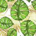 Tropical Haze Green Monstera Leaves And Golden Palm Fronds by Tina Lavoie