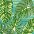 Tropical Leaf Striped Pattern Teal Turquoise Green by Audrey Jeanne Roberts