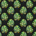 Tropical Leaves On Black- Art by Linda Woods by Linda Woods