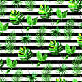 Tropical Leaves Pattern In Watercolor Style With Stripes by Thomas