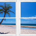 Tropical Paradise Whitewash Picture Window View by James BO Insogna