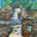 Tropical Rainbow Waterfall by Arline Wagner