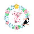 Tropical State Of Mind Pink Text by Lynn Bauer