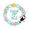 Tropical State Of Mind Teal Text by Lynn Bauer