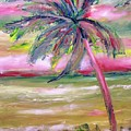 Tropical Sunset In Pink With Palm Tree by Patricia Taylor