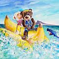 Truffle Mcfurry And Mary The Scottish Sheep Riding The Banana by Miki De Goodaboom