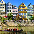 Tubingen - Colorful Old Houses And A Punt by Matthias Hauser