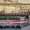 Tug Derek E And Barge On The Calumet River by Christine Douglas