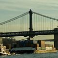 Tugboat Pulling A Barge On The East by Todd Gipstein
