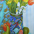 Tulips And Iris In A Japanese Vase, With Fruit And Textiles by Joan Thewsey
