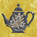 Tulips And Willow Pattern Teapot by Anthony Murphy