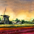 Tulips And Windmill From The Netherlands by Miki De Goodaboom