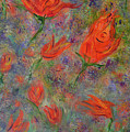 Tulips- Floral Art- Abstract Painting by Kathy  Symonds