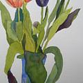 Tulips In Blue Vase by Jeff Friedman
