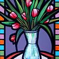 Tulips In Glass Vase by Jim Harris