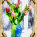Tulips On A Half Shelf by Mario Carini
