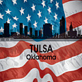 Tulsa Ok American Flag Squared by Angelina Tamez