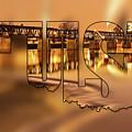 Tulsa Oklahoma Typography Blur - State Shape Series - Liquid Gold - 21st Street Bridge by Gregory Ballos