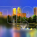 Tulsa Oklahoma Typography Blur - State Shape Series - Purple In The Sky - Downtown Skyline Of Tulsa by Gregory Ballos