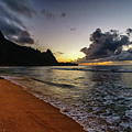 Tunnels Beach Sunset by David Kulp