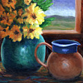 Turquoise And Gold by Linda Hiller