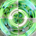 Turquoise And Green Abstract Collage by Taiche Acrylic Art