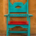 Turquoise And Red Chair by Jerry Fornarotto