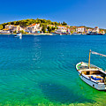 Turquoise Beach And Boat In Rogoznica by Brch Photography