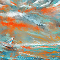 Turquoise Sail - Orange And Turquoise Abstract Art by Lourry Legarde
