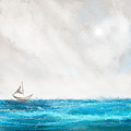 Turquoise Sailing - Moonlight Sailing by Lourry Legarde